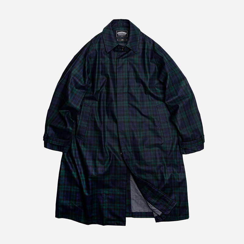 Oversized balmacaan coat _ black watch