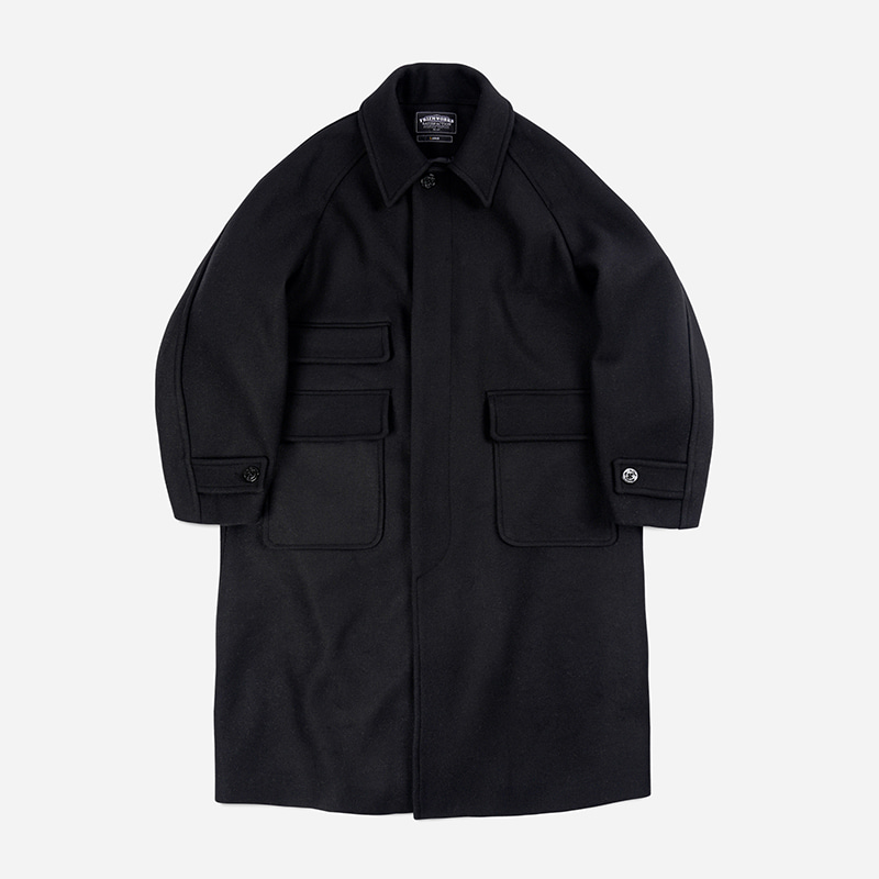 Heavy wool oversized balmacaan coat _ black