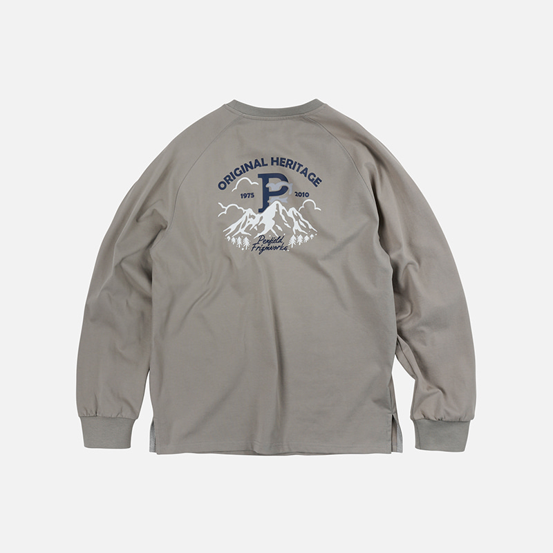 [PENFIELD X FRIZMWORKS] P&F Mountain logo long sleeve _ gray