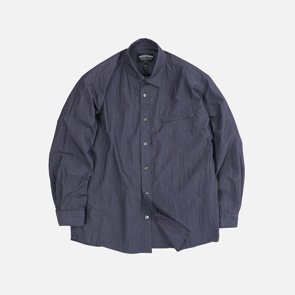 Nylon double vent shirt _ navy