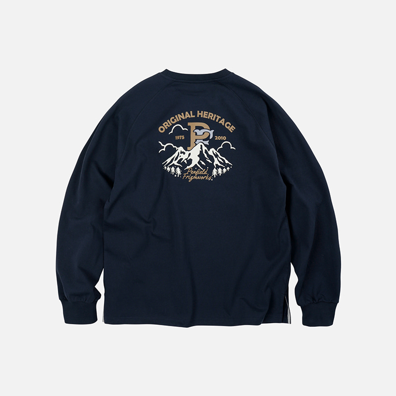 [PENFIELD X FRIZMWORKS] P&F Mountain logo long sleeve _ navy