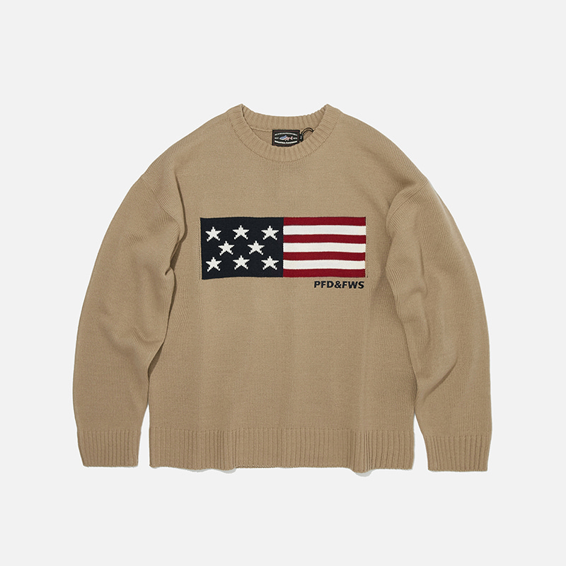 [PENFIELD X FRIZMWORKS] Flag logo knit 002 _ light beige
