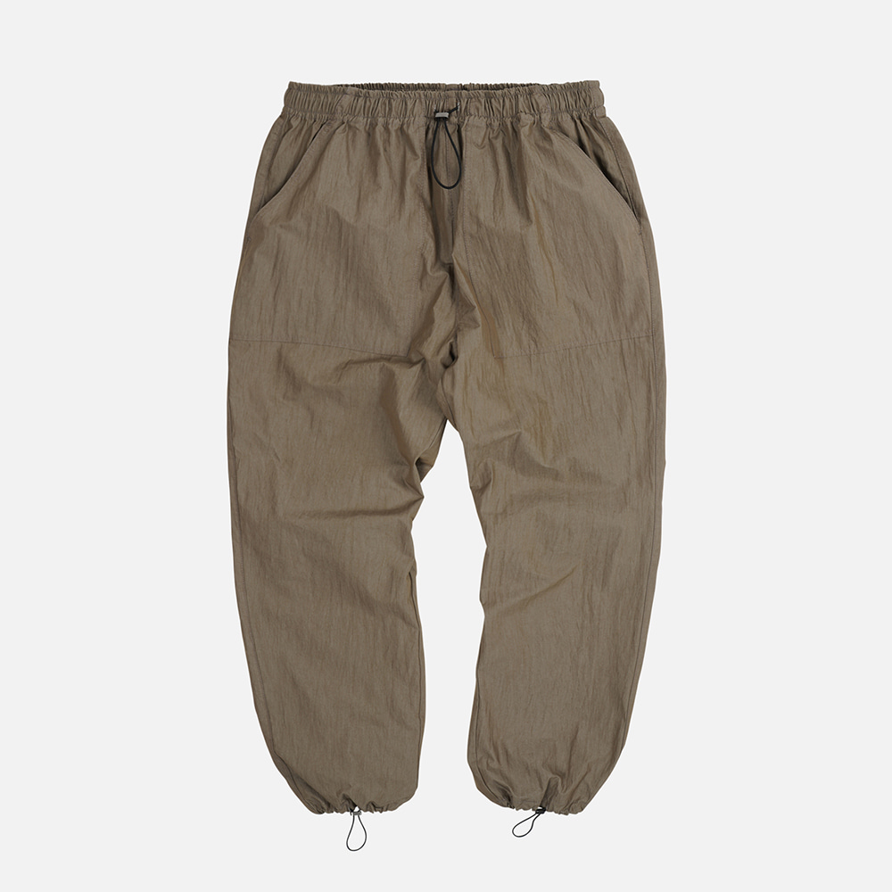 Nylon fatigue easy pants _ brown