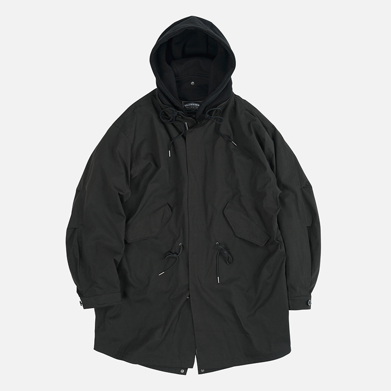 Detachable hooded fishtail jacket _ black