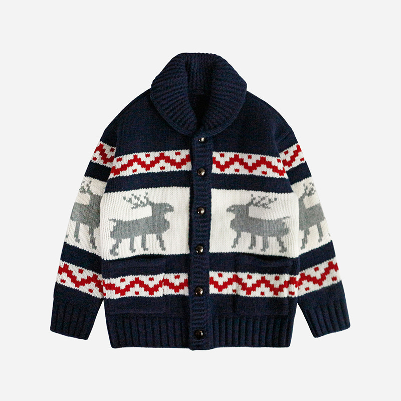 Heavy wool deer cowichan jacket _ navy[프리즘웍스 X 니티드]