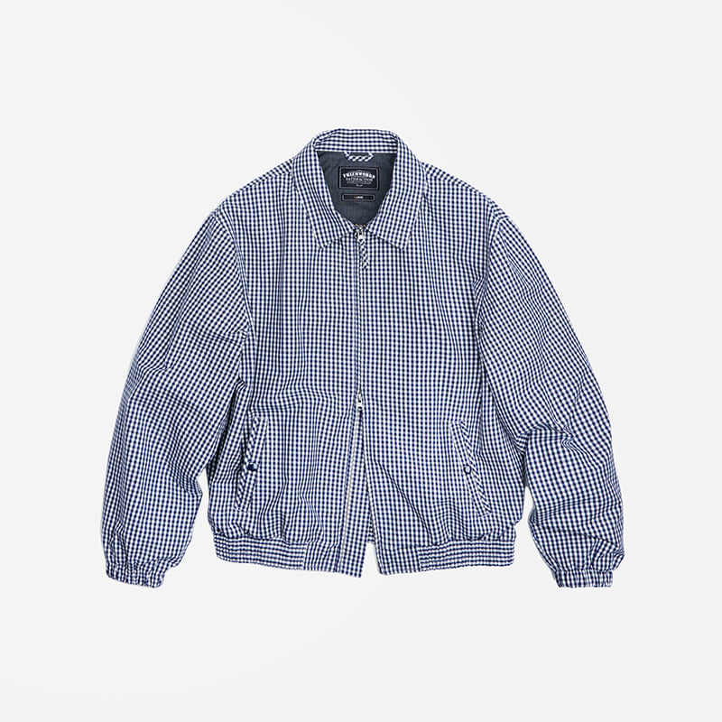 Gingham check blouson jacket _ blue