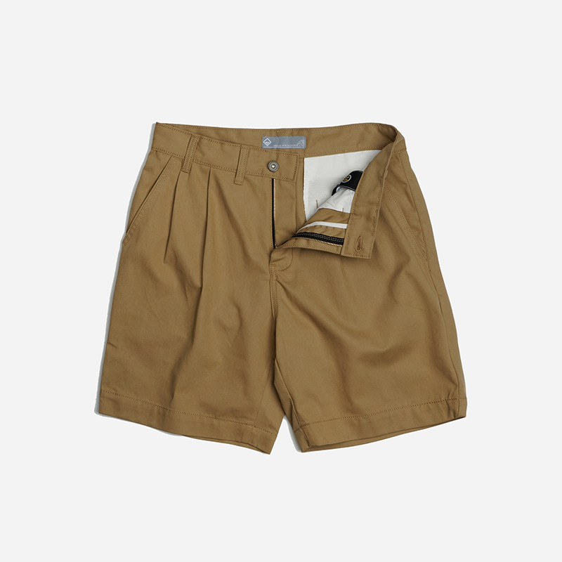 Two tuck wide shorts _ beige