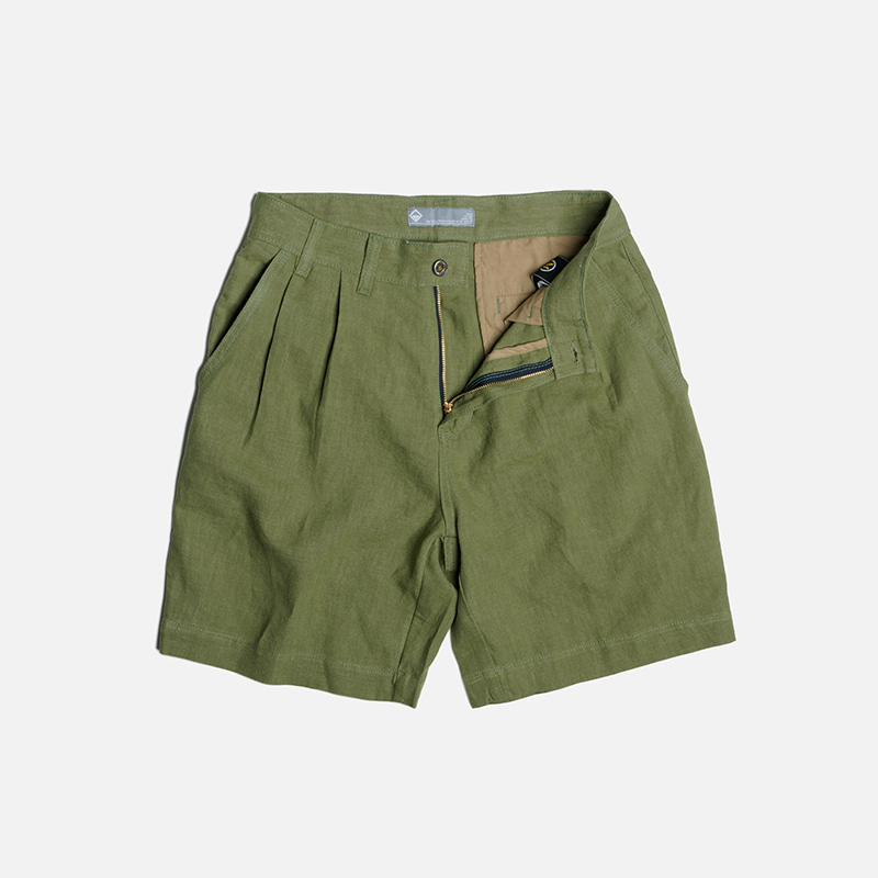 Linen two tuck shorts _ olive