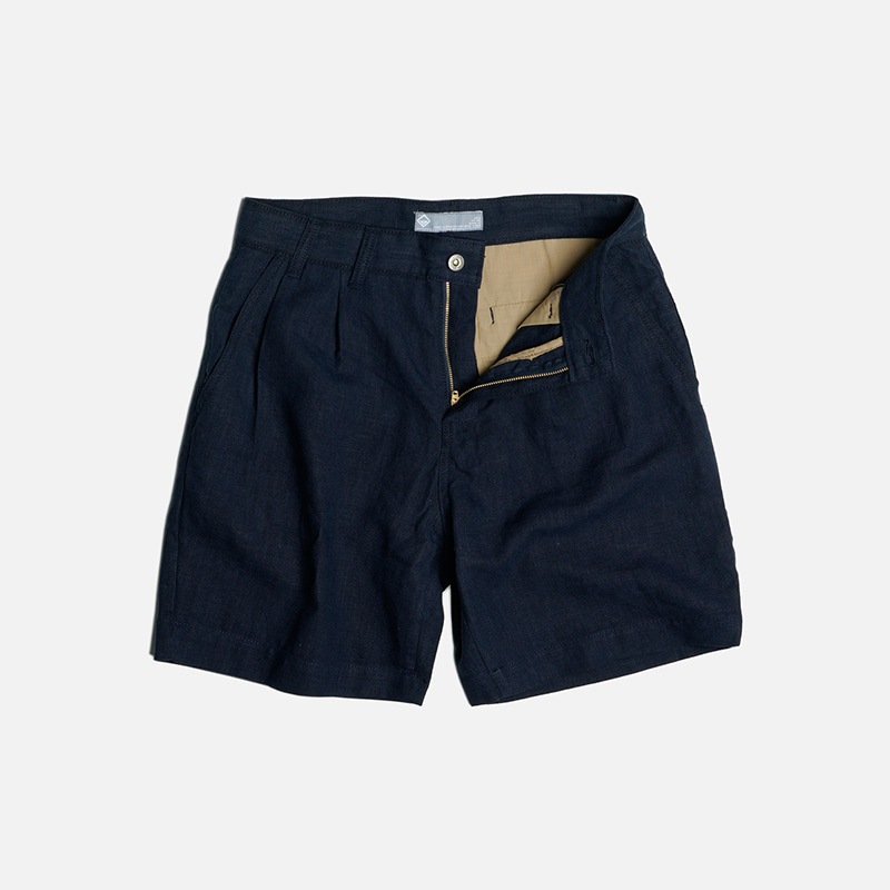 Linen two tuck shorts _ navy