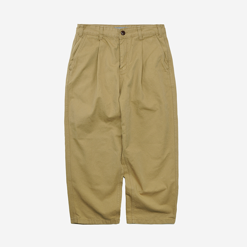 Wide one tuck chino pants _ beige