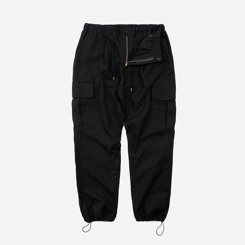 Linen cargo string pants _ black