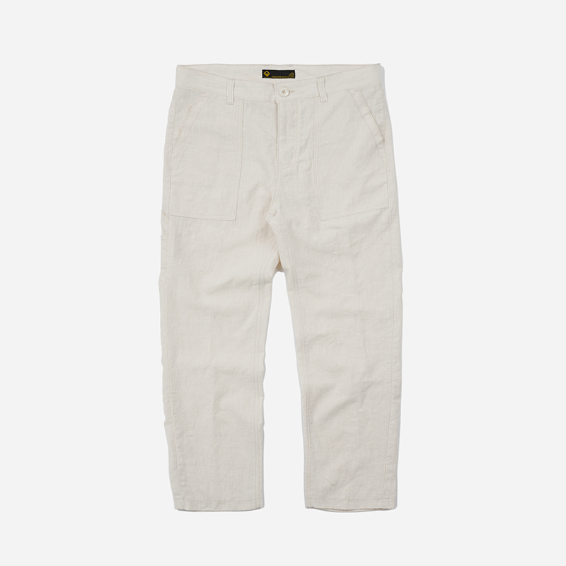 Linen fatigue pants _ natural