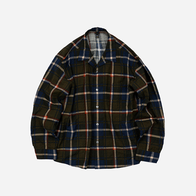 Checked open collar shirt _ olive