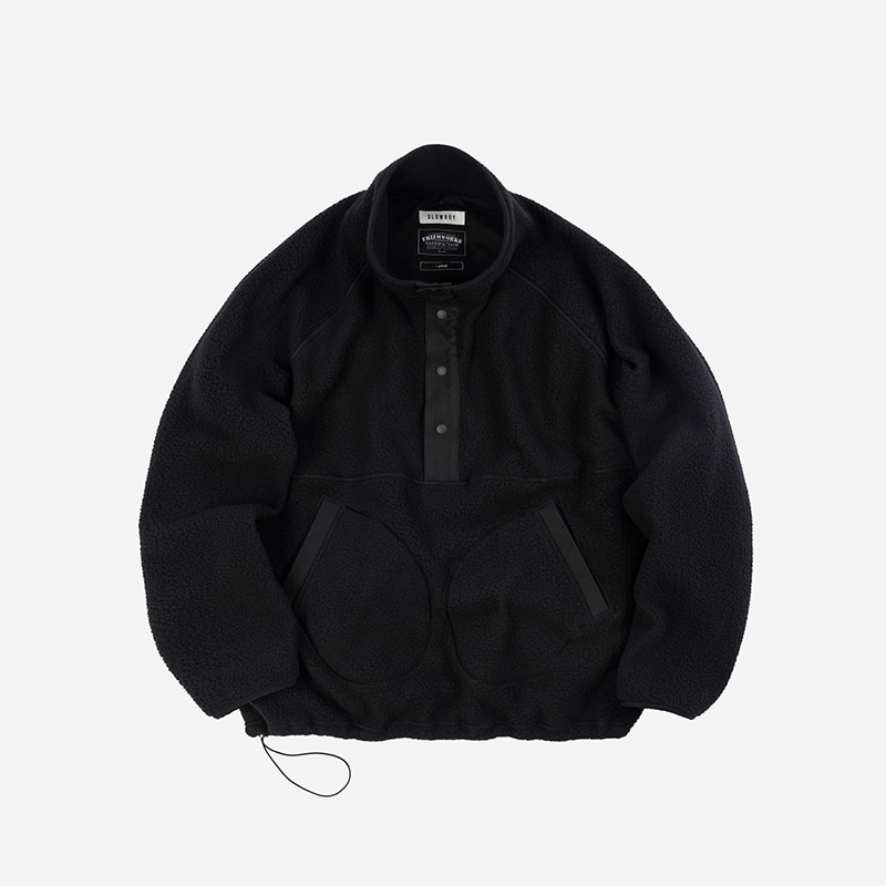 [SLOW BOY X FRIZMWORKS]Oversized pullover fleece jacket _ black
