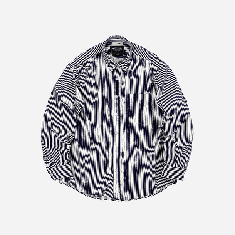 [SLOW BOY X FRIZMWORKS]Oversized button down shirt _ navy stripe