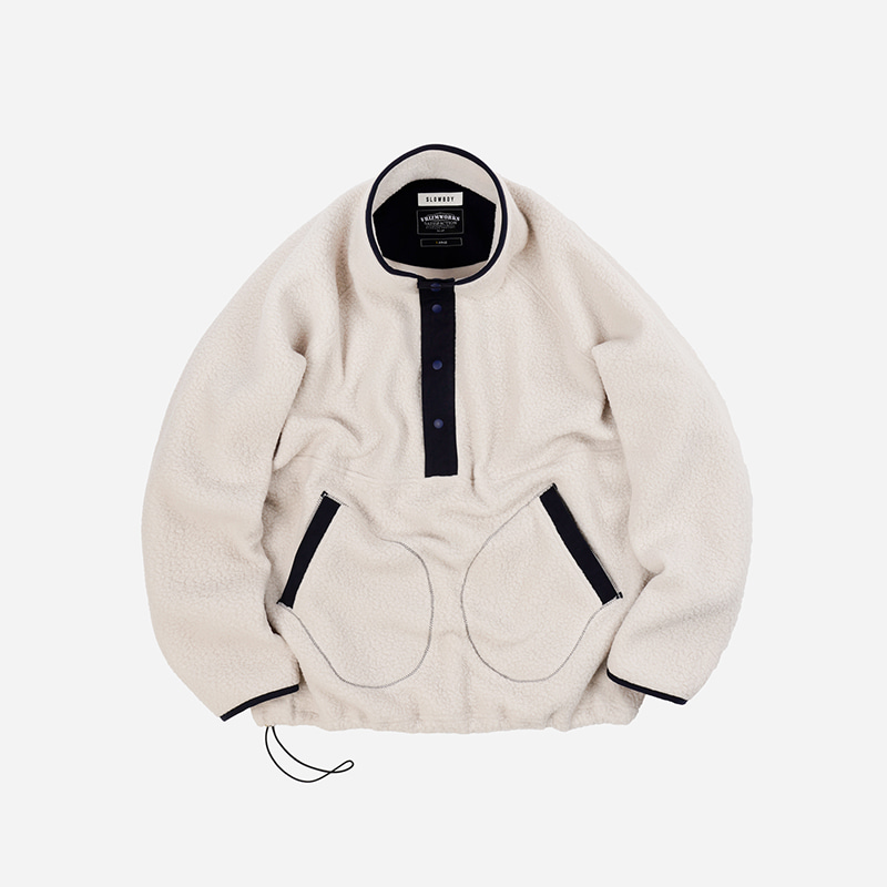 [SLOW BOY X FRIZMWORKS]Oversized pullover fleece jacket _ ivory