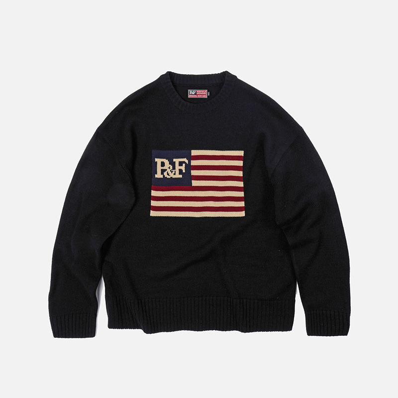 [PENFIELD X FRIZMWORKS]Flag logo knit _ black