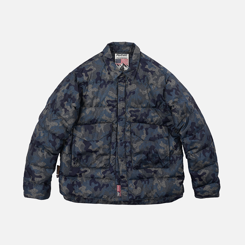 [PENFIELD X FRIZMWORKS]Camouflage down shirt jacket _ blue