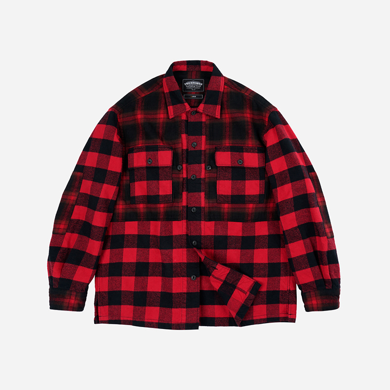 Heavy flannel block shirt _ red