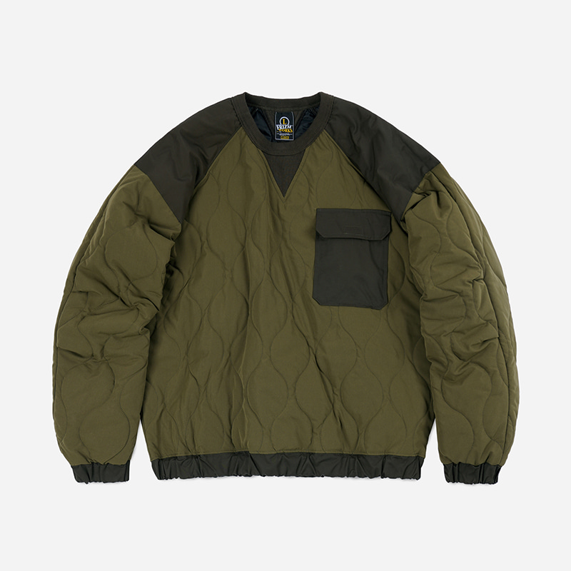 Quilted crewneck pullover _ olive