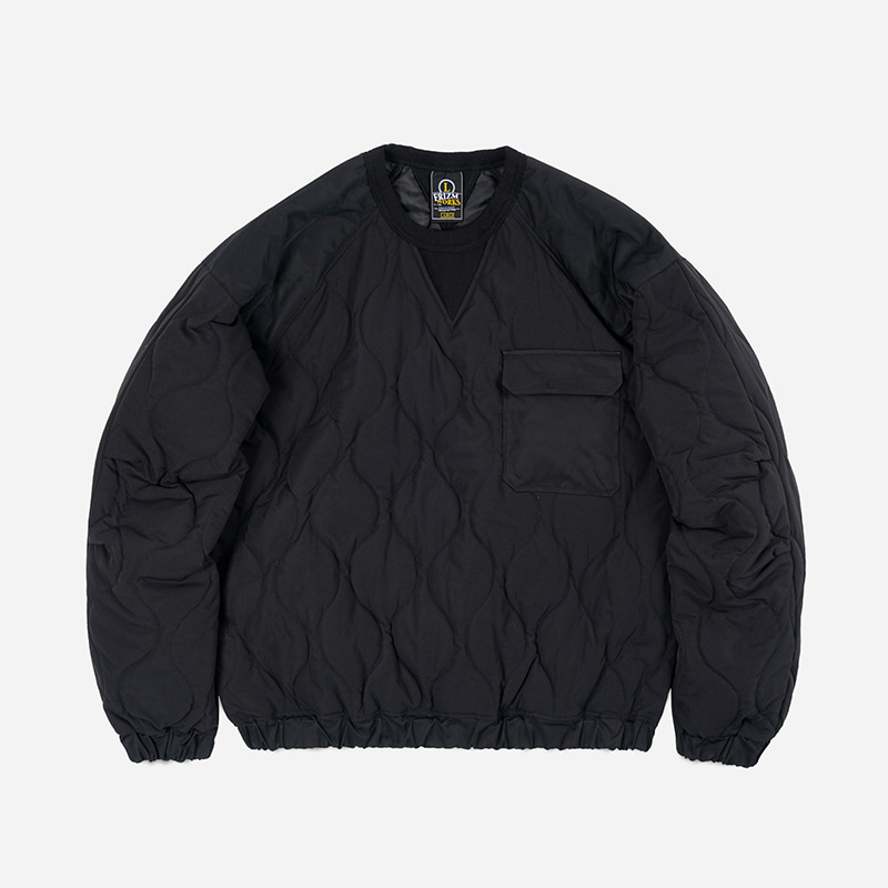 Quilted crewneck pullover _ black