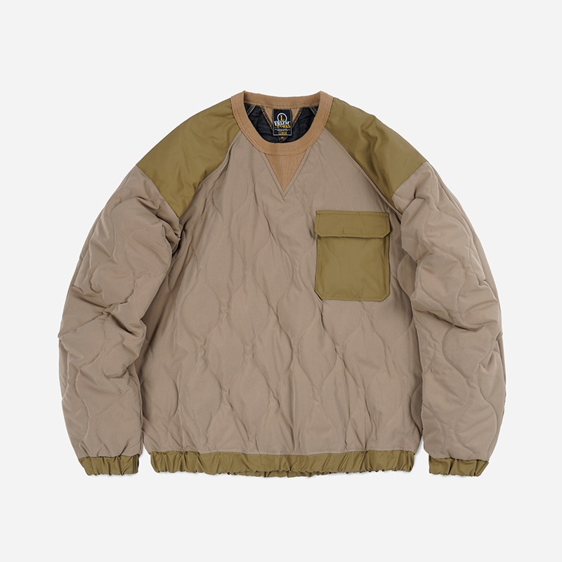 Quilted crewneck pullover _ beige