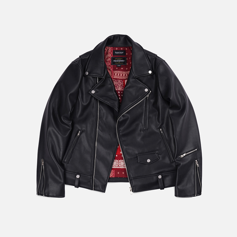 [FWS X SAINTPAIN] Bandana lining riders jacket _ red