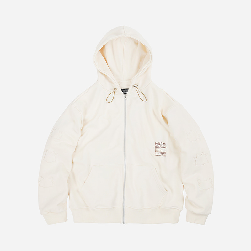 [WEBZEN FRIENDS X FRIZMWORKS] String zip up hoody _ oatmeal