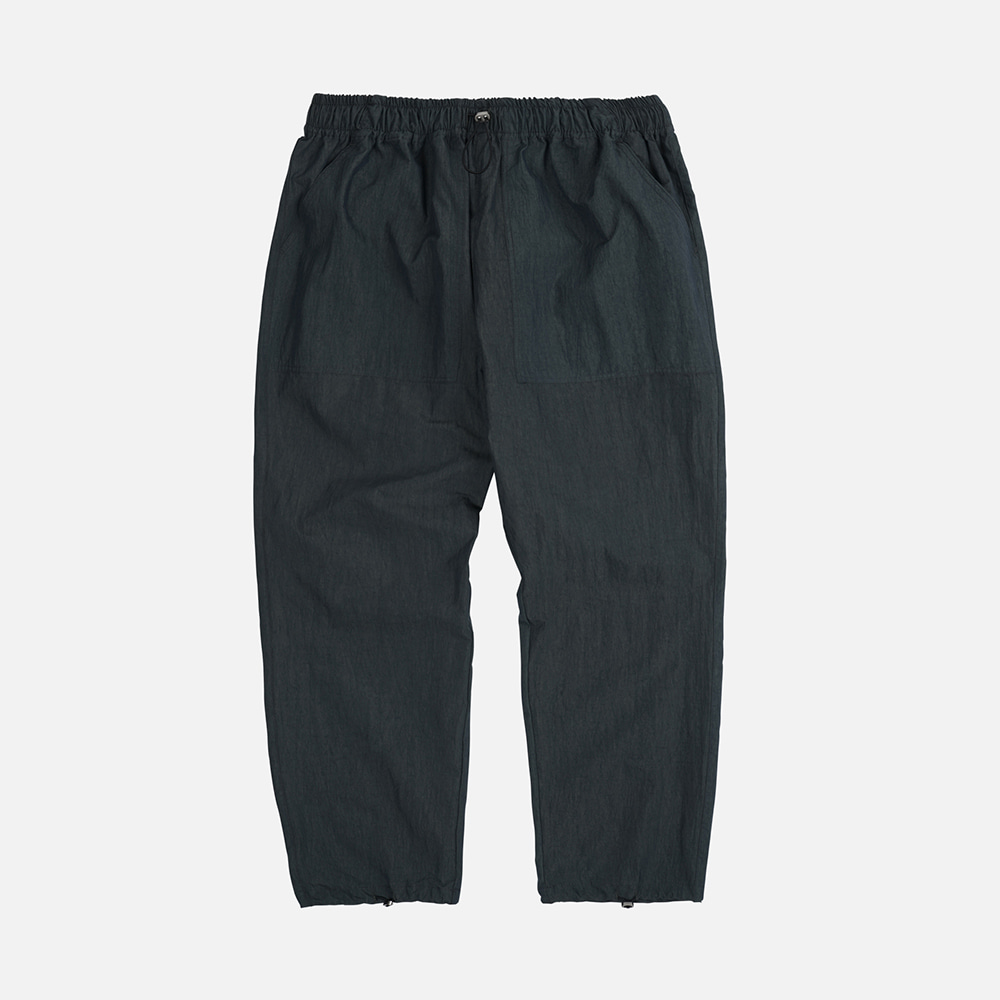 Nylon fatigue easy pants _ black