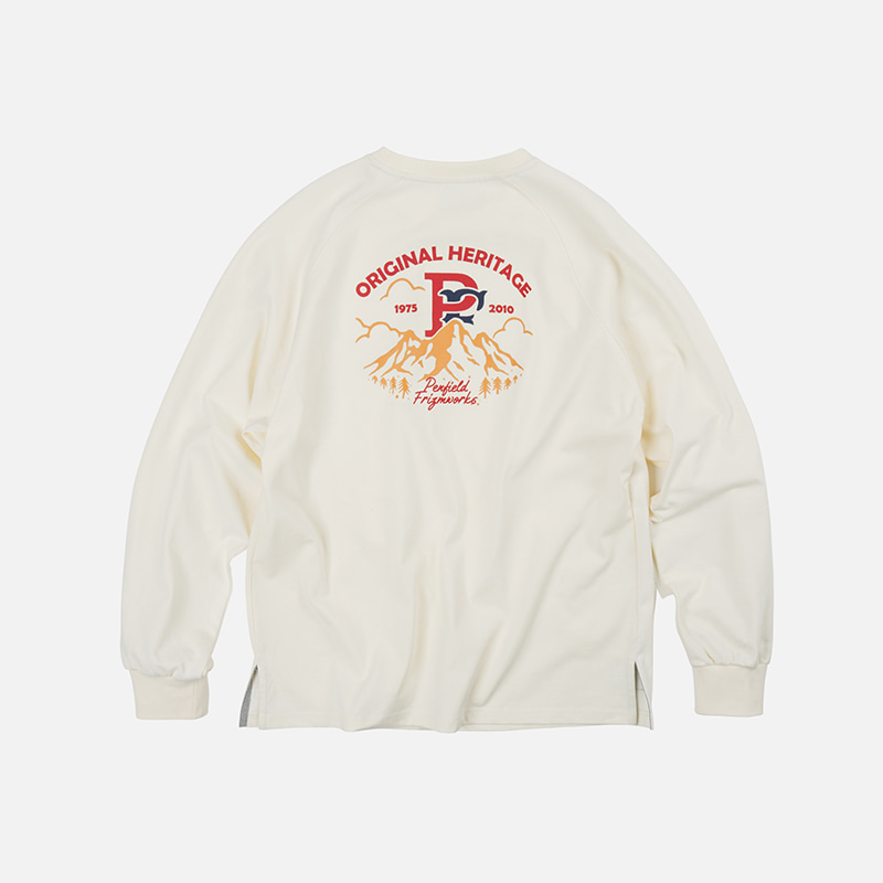 [PENFIELD X FRIZMWORKS] P&F Mountain logo long sleeve _ ivory