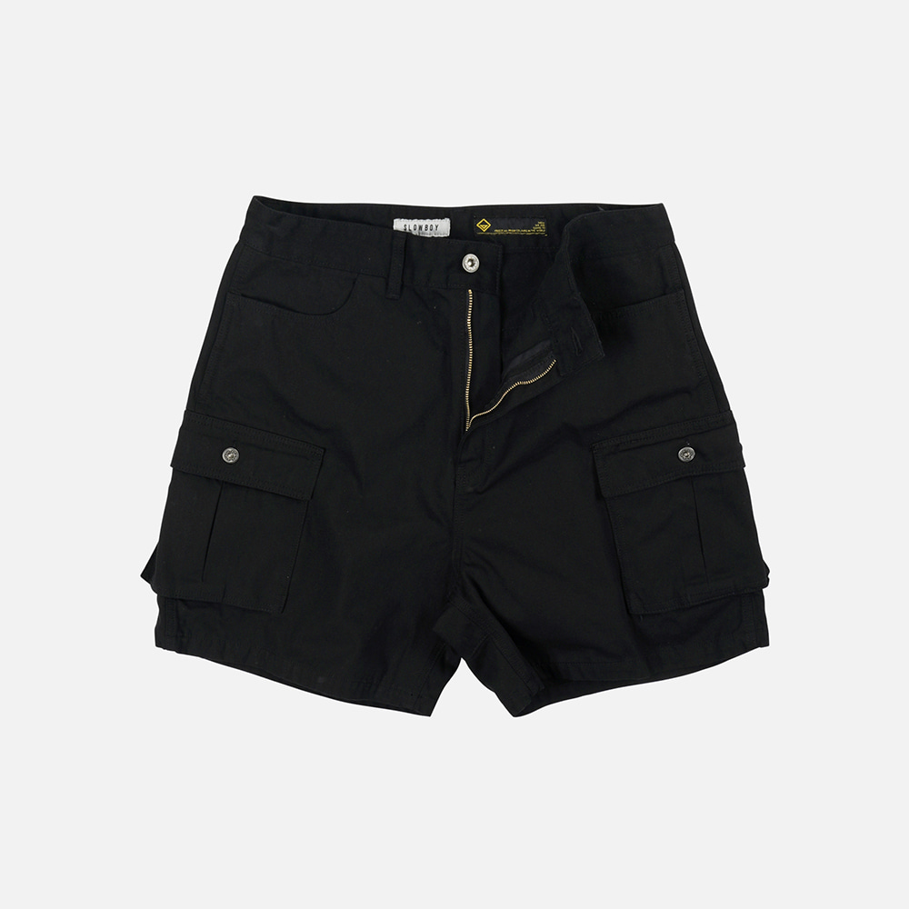 [SLOW BOY X FRIZMWORKS] Oversized cargo short pants _ black