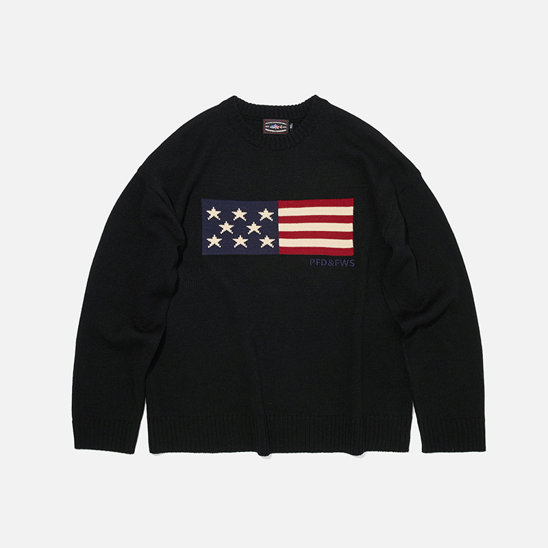 [PENFIELD X FRIZMWORKS] Flag logo knit 002 _ black