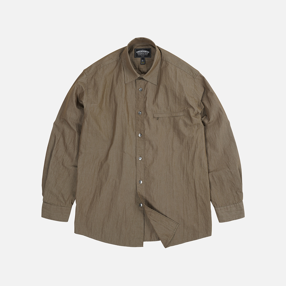 Nylon double vent shirt _ brown